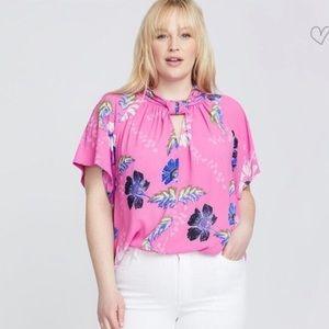 Rachel Rachel Roy / Pink Floral Blouse / Plus Size